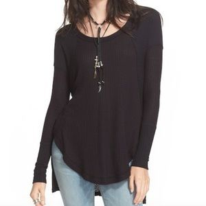 Free People Ventura Thermal Top High Low Black L